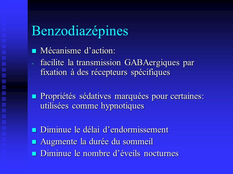Benzodiazépines Mécanisme d'action: