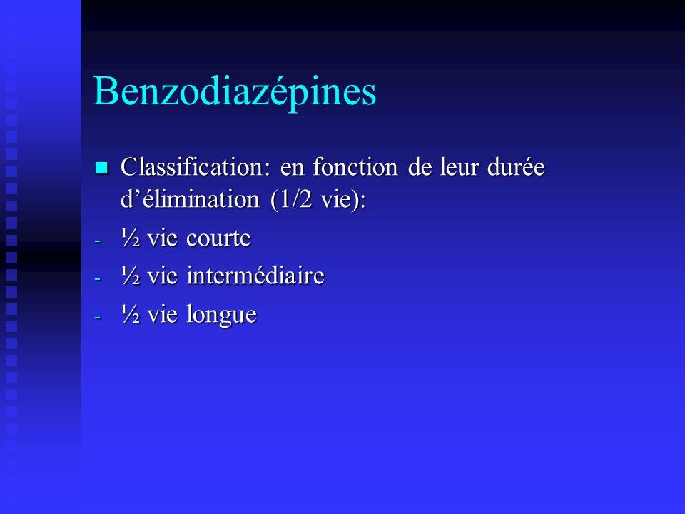Benzodiazépines Classification: en fonction de leur durée d'élimination (1/2 vie): ½ vie courte. ½ vie intermédiaire.