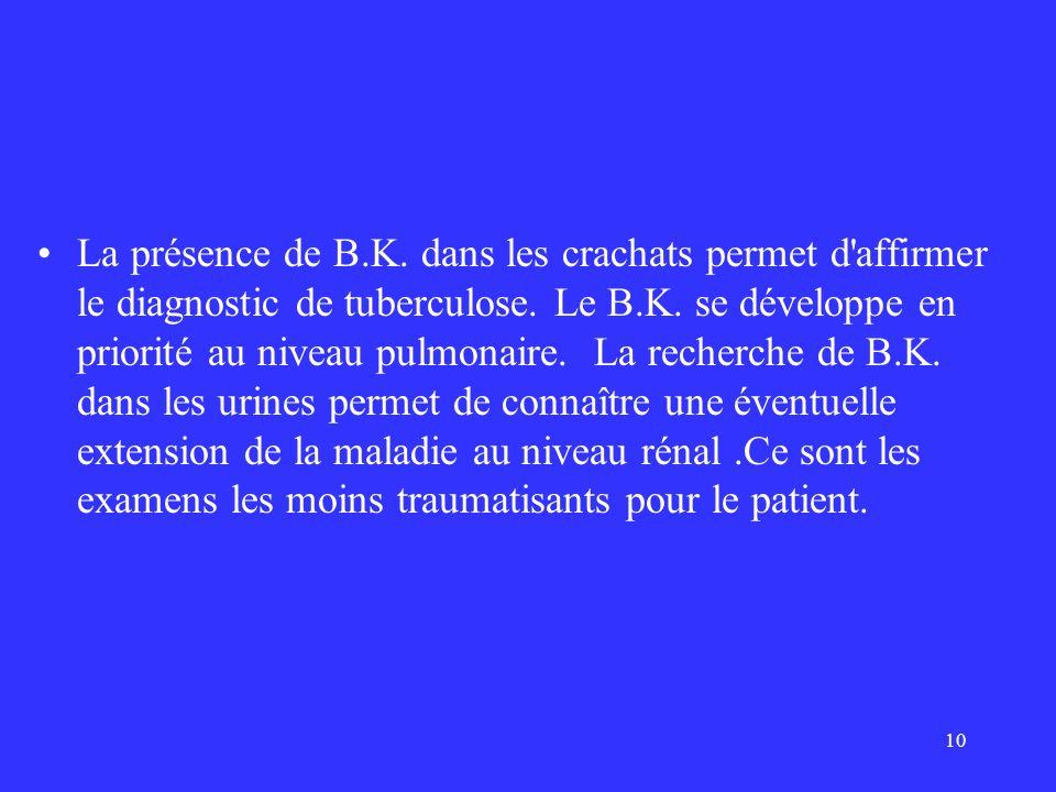 La présence de B.K. dans les crachats permet d affirmer le diagnostic de tuberculose.