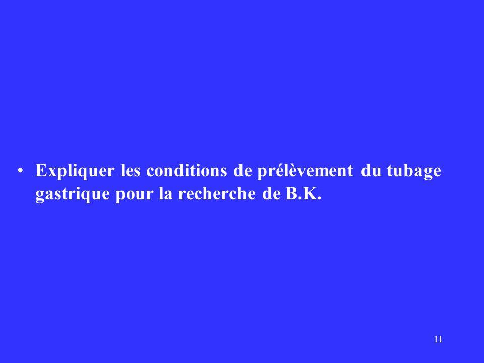 Expliquer les conditions de prélèvement du tubage gastrique pour la recherche de B.K.