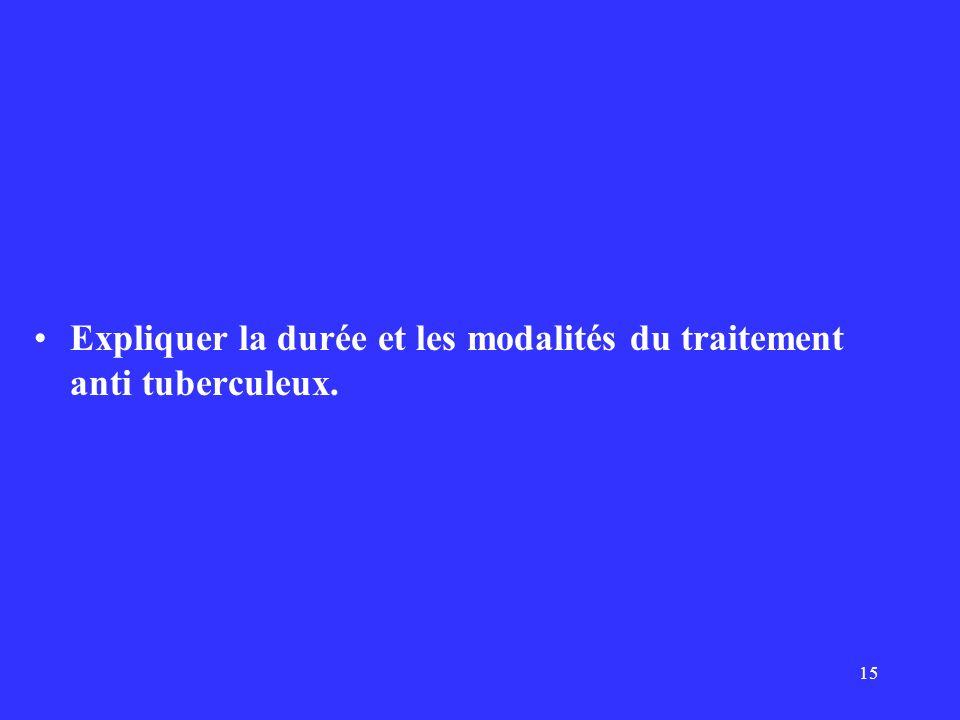 Expliquer la durée et les modalités du traitement anti tuberculeux.