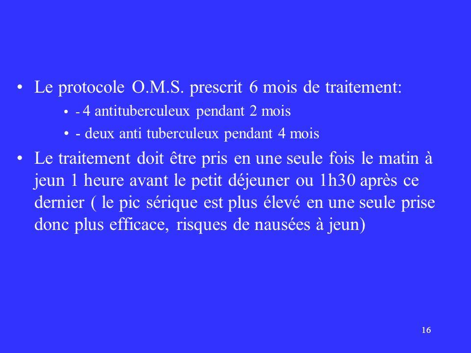 Le protocole O.M.S. prescrit 6 mois de traitement: