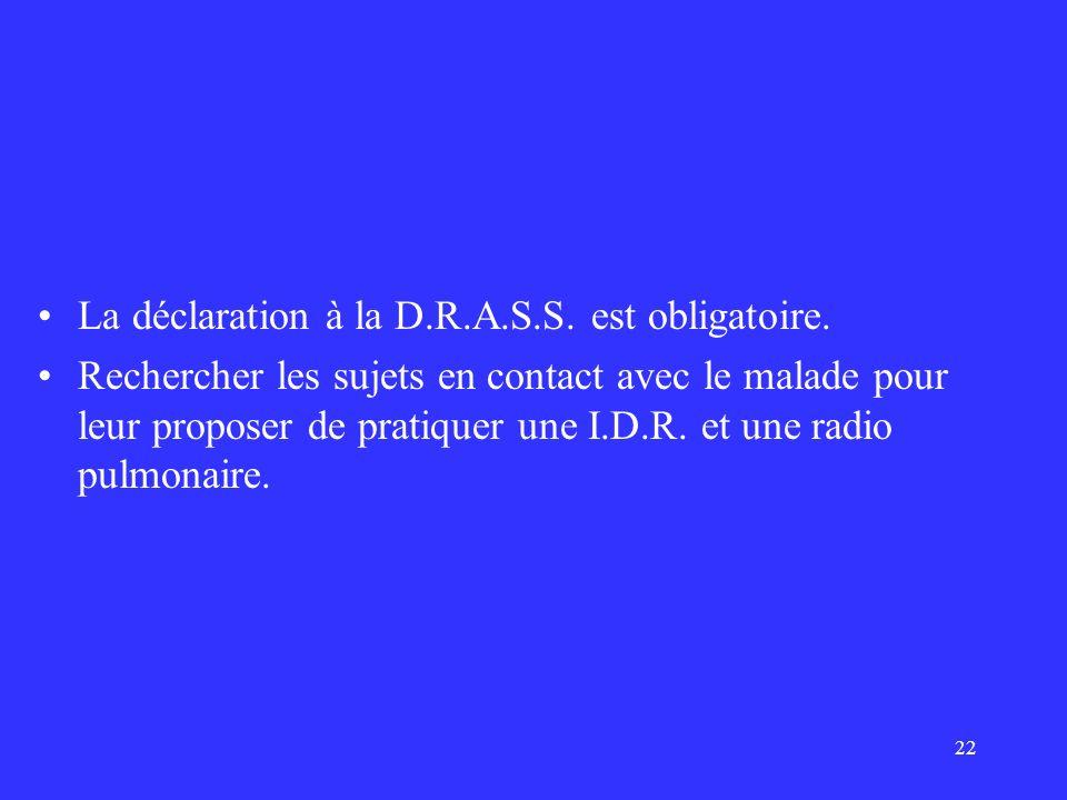 La déclaration à la D.R.A.S.S. est obligatoire.