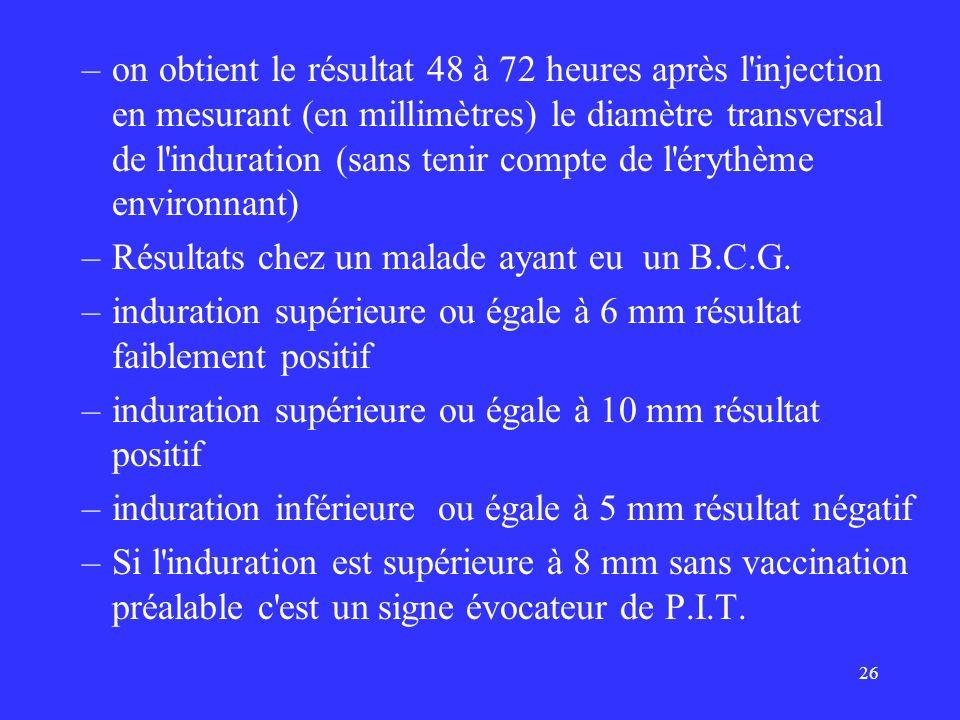 on obtient le résultat 48 à 72 heures après l injection en mesurant (en millimètres) le diamètre transversal de l induration (sans tenir compte de l érythème environnant)