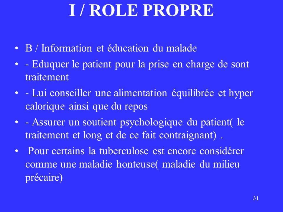 I / ROLE PROPRE B / Information et éducation du malade