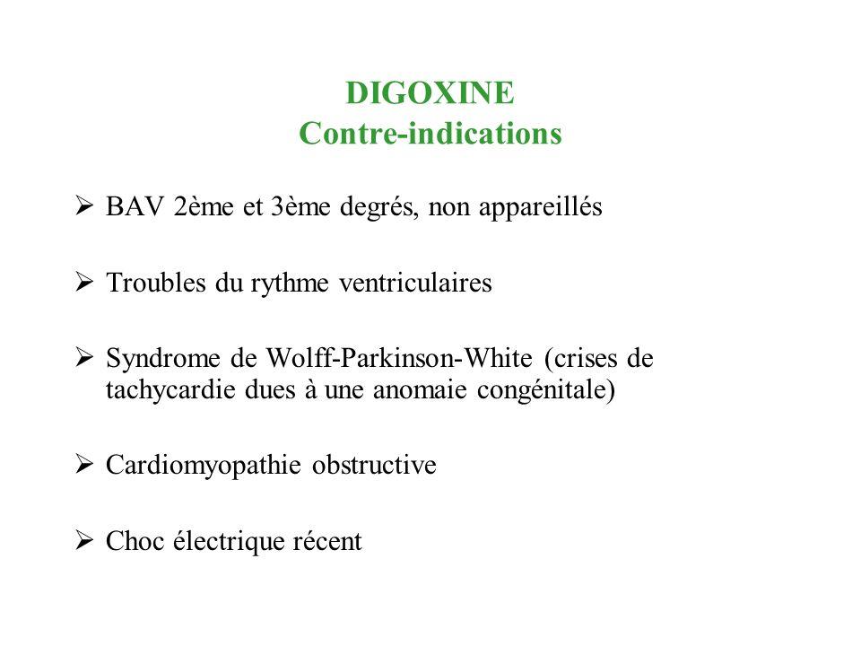 DIGOXINE Contre-indications