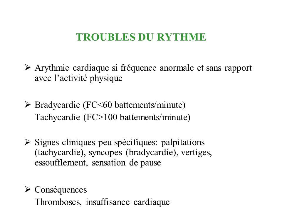 TROUBLES DU RYTHME Arythmie cardiaque si fréquence anormale et sans rapport avec l'activité physique.