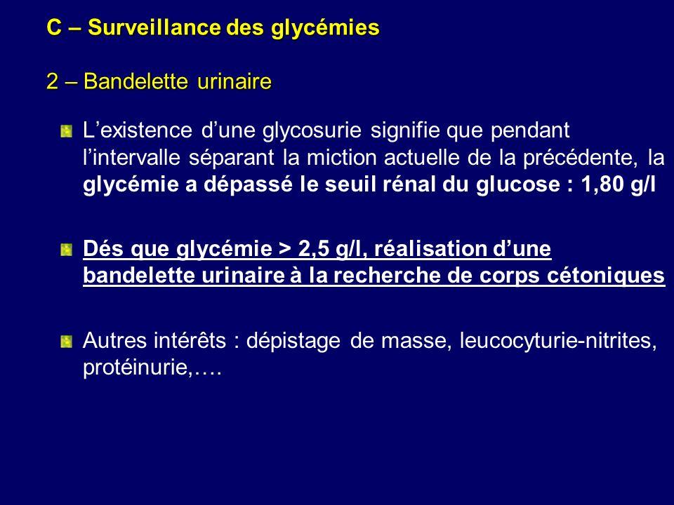 C – Surveillance des glycémies 2 – Bandelette urinaire