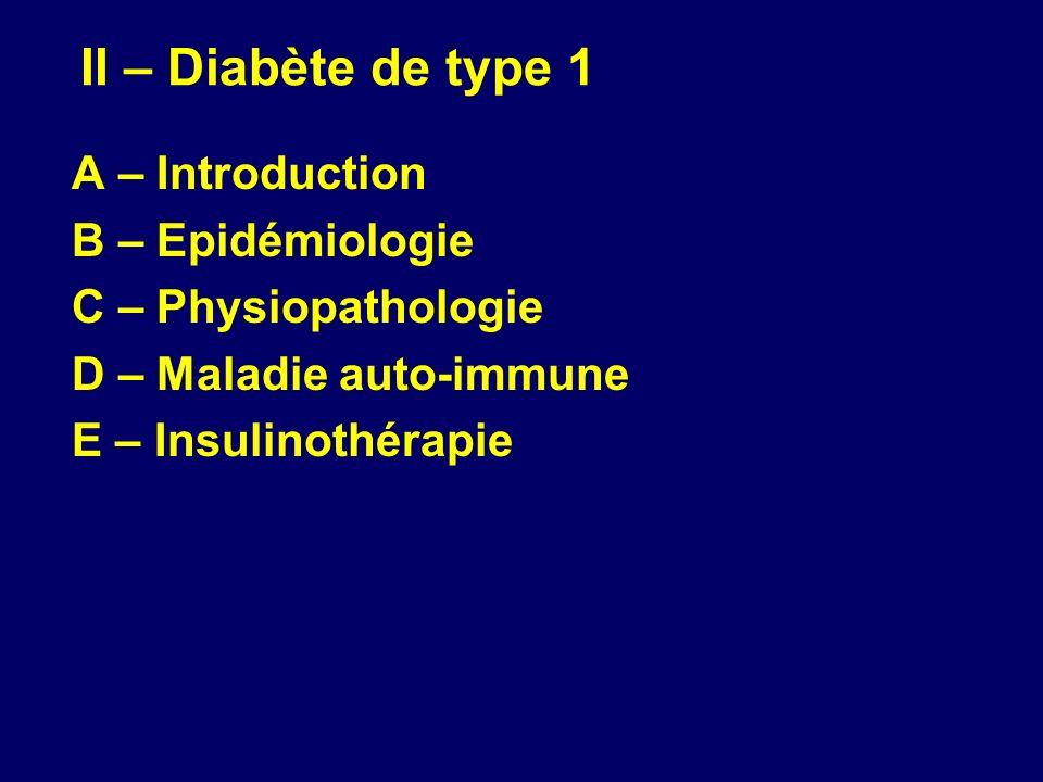II – Diabète de type 1 A – Introduction B – Epidémiologie