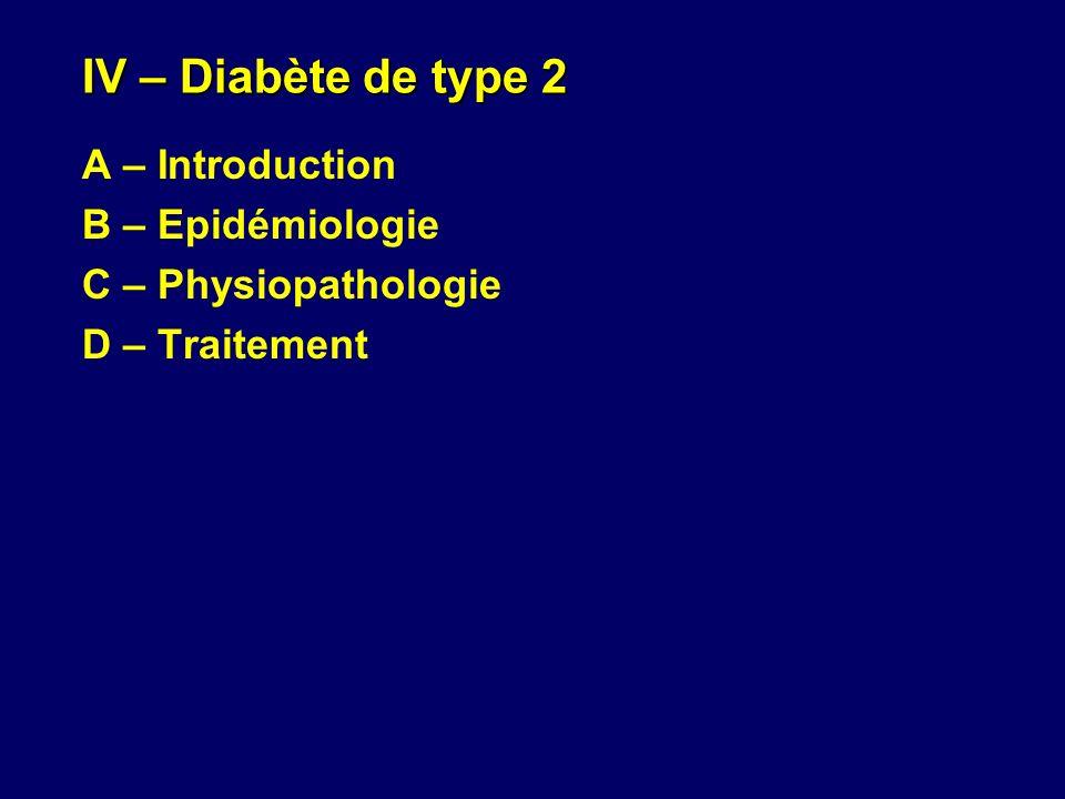 IV – Diabète de type 2 A – Introduction B – Epidémiologie