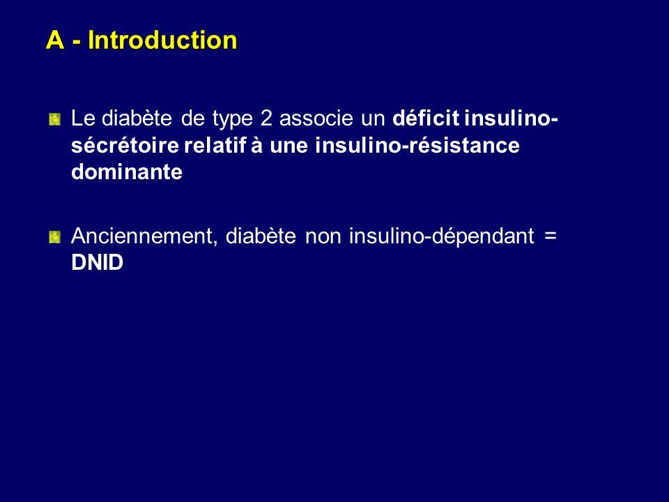 A - Introduction Le diabète de type 2 associe un déficit insulino-sécrétoire relatif à une insulino-résistance dominante.