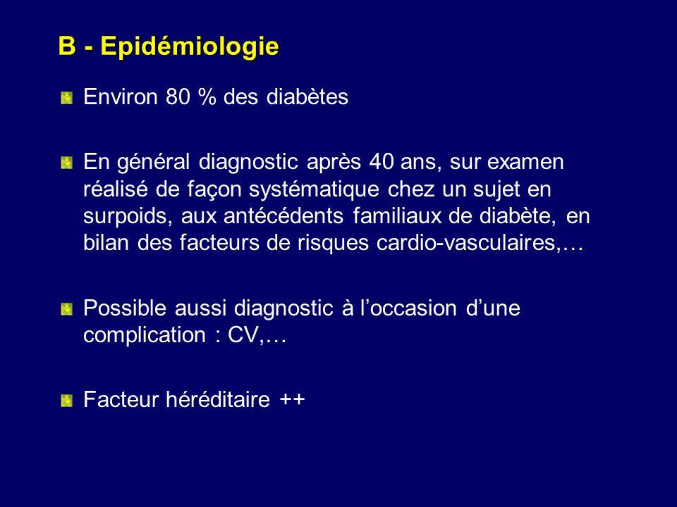 B - Epidémiologie Environ 80 % des diabètes