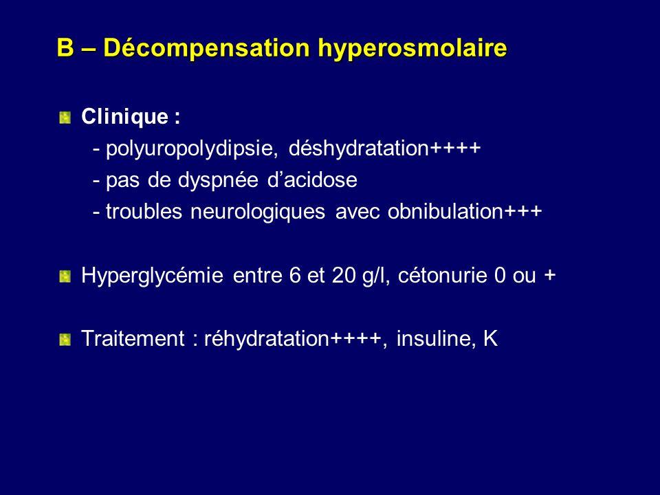 B – Décompensation hyperosmolaire
