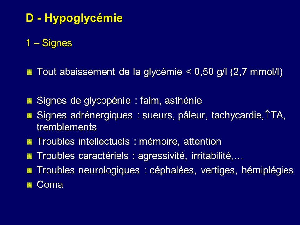 D - Hypoglycémie 1 – Signes