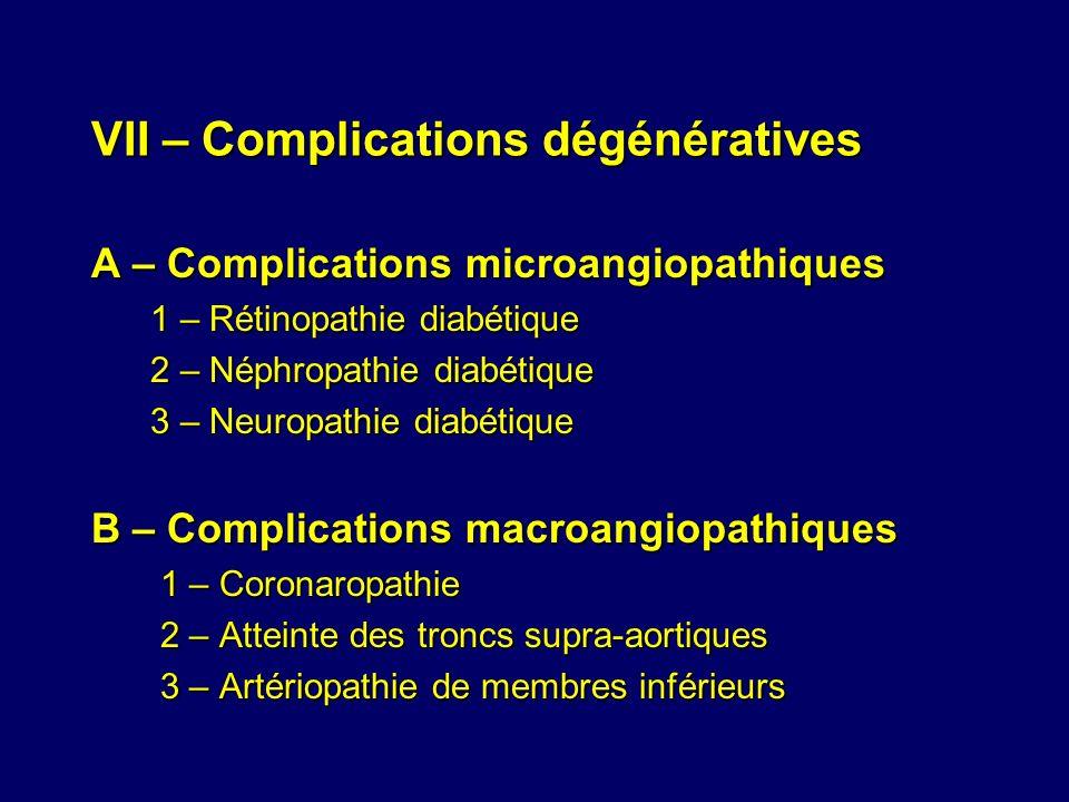 VII – Complications dégénératives