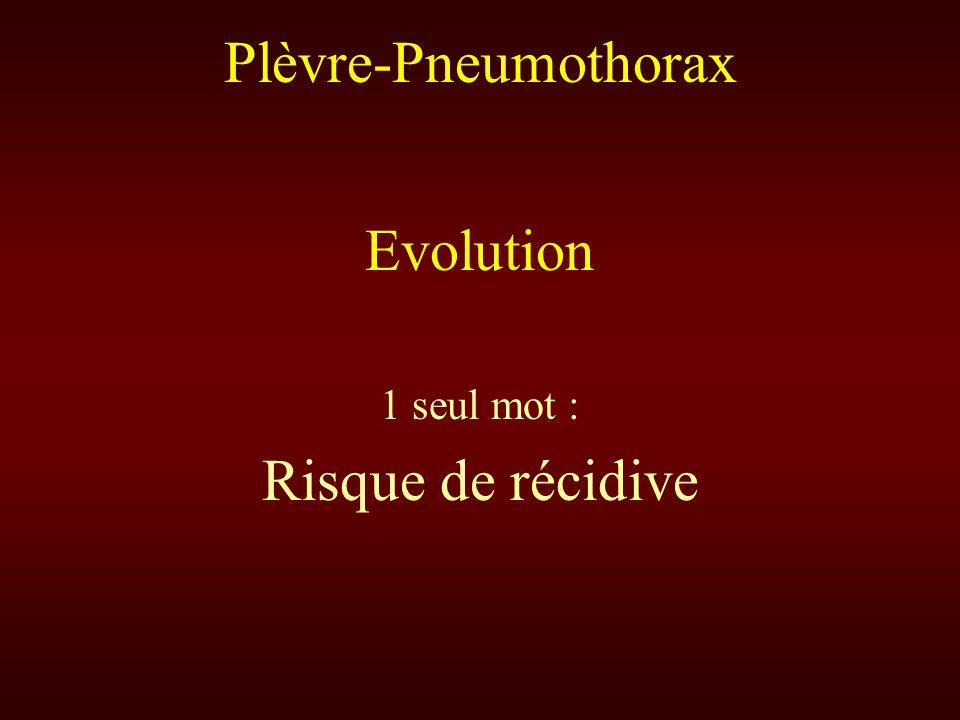 Plèvre-Pneumothorax Evolution 1 seul mot : Risque de récidive