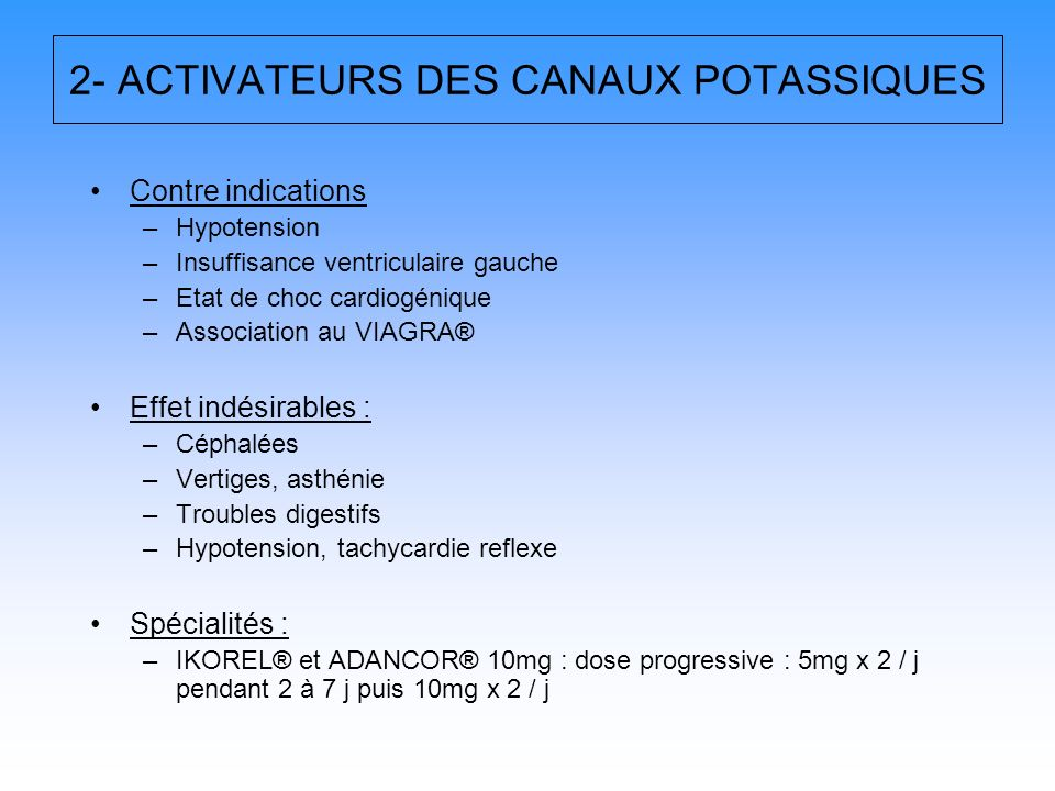 2- ACTIVATEURS DES CANAUX POTASSIQUES