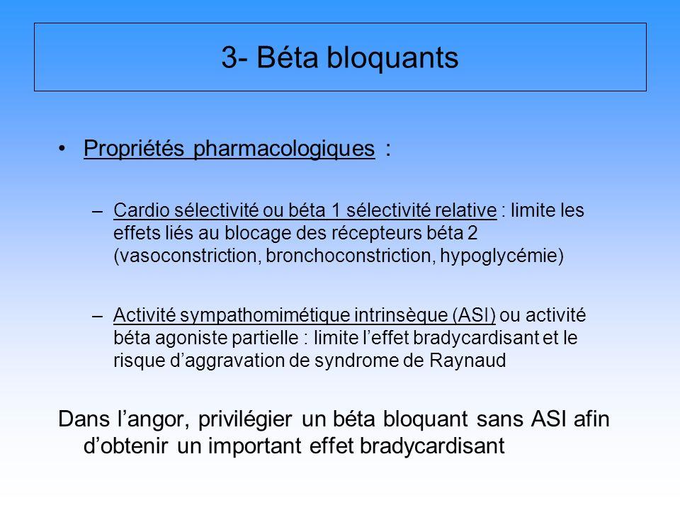 3- Béta bloquants Propriétés pharmacologiques :