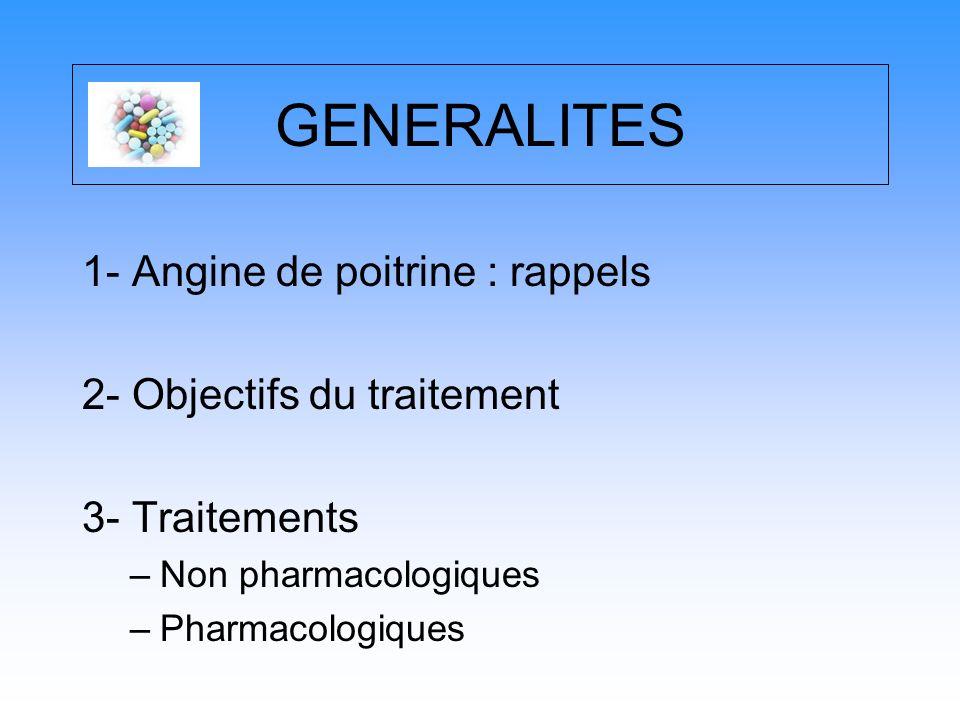 GENERALITES 1- Angine de poitrine : rappels 2- Objectifs du traitement