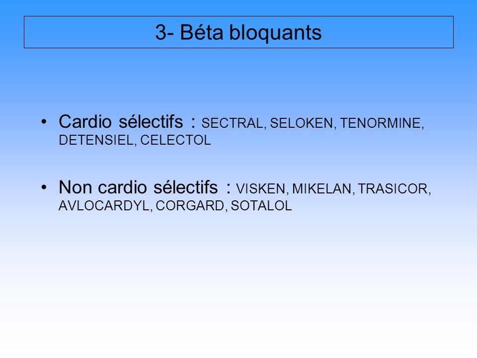 3- Béta bloquants Cardio sélectifs : SECTRAL, SELOKEN, TENORMINE, DETENSIEL, CELECTOL.