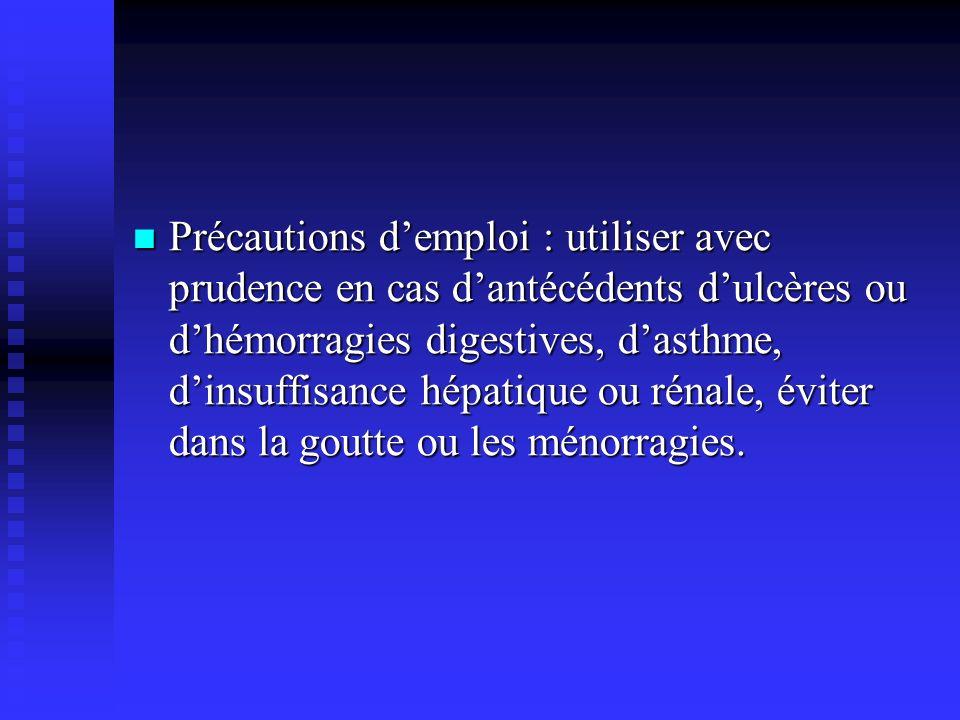 Précautions d'emploi : utiliser avec prudence en cas d'antécédents d'ulcères ou d'hémorragies digestives, d'asthme, d'insuffisance hépatique ou rénale, éviter dans la goutte ou les ménorragies.