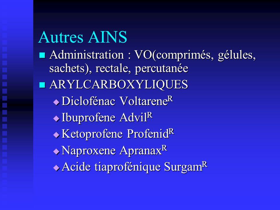Autres AINS Administration : VO(comprimés, gélules, sachets), rectale, percutanée. ARYLCARBOXYLIQUES.