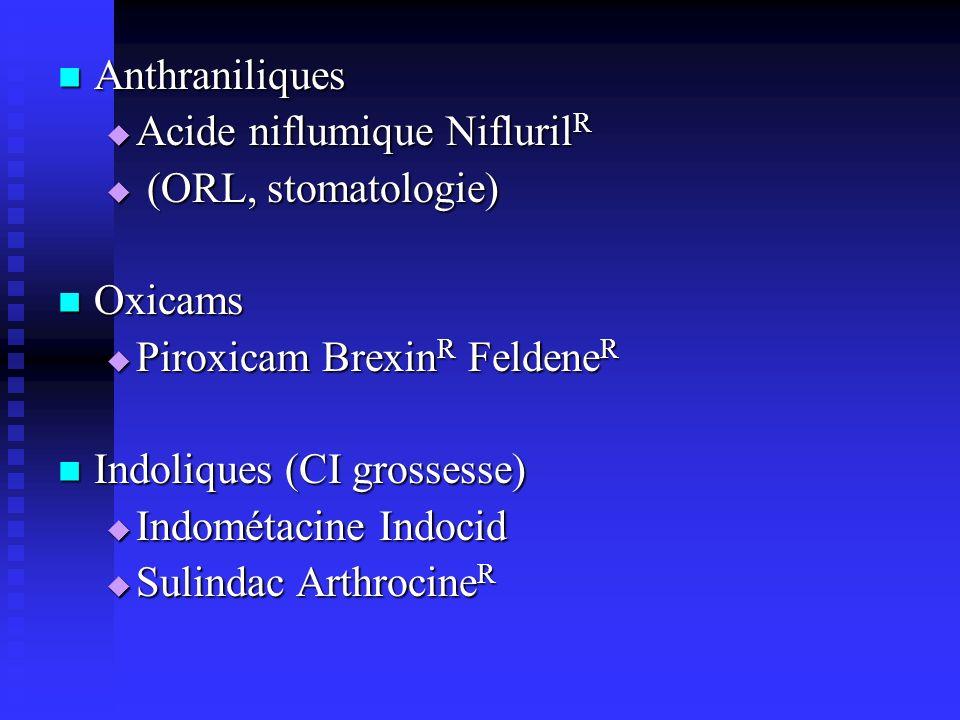 Anthraniliques Acide niflumique NiflurilR. (ORL, stomatologie) Oxicams. Piroxicam BrexinR FeldeneR.
