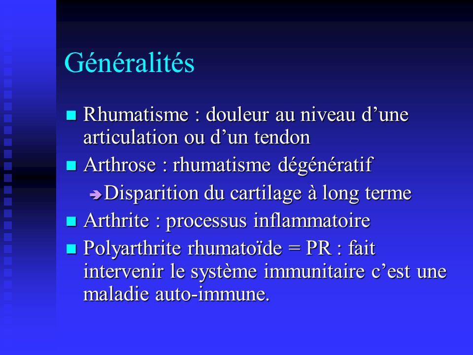 Généralités Rhumatisme : douleur au niveau d'une articulation ou d'un tendon. Arthrose : rhumatisme dégénératif.