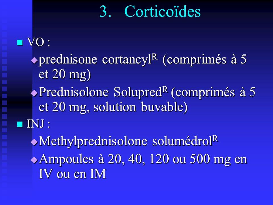 Corticoïdes prednisone cortancylR (comprimés à 5 et 20 mg)