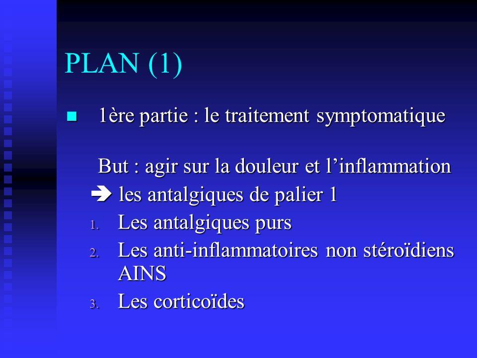 PLAN (1) 1ère partie : le traitement symptomatique