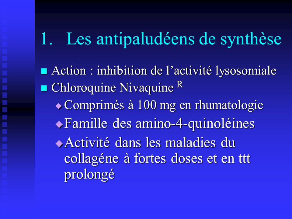 Les antipaludéens de synthèse