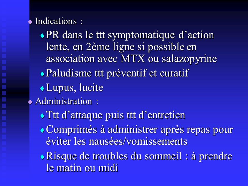 Paludisme ttt préventif et curatif Lupus, lucite
