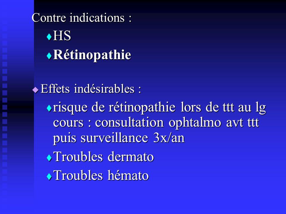 Contre indications : HS. Rétinopathie. Effets indésirables :