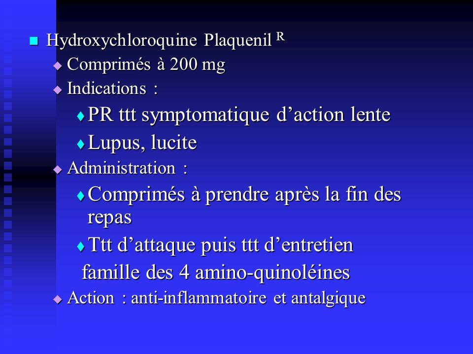 PR ttt symptomatique d'action lente Lupus, lucite