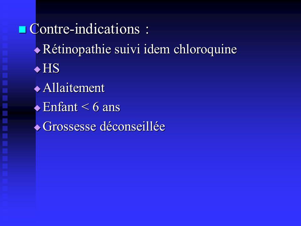 Contre-indications : Rétinopathie suivi idem chloroquine HS