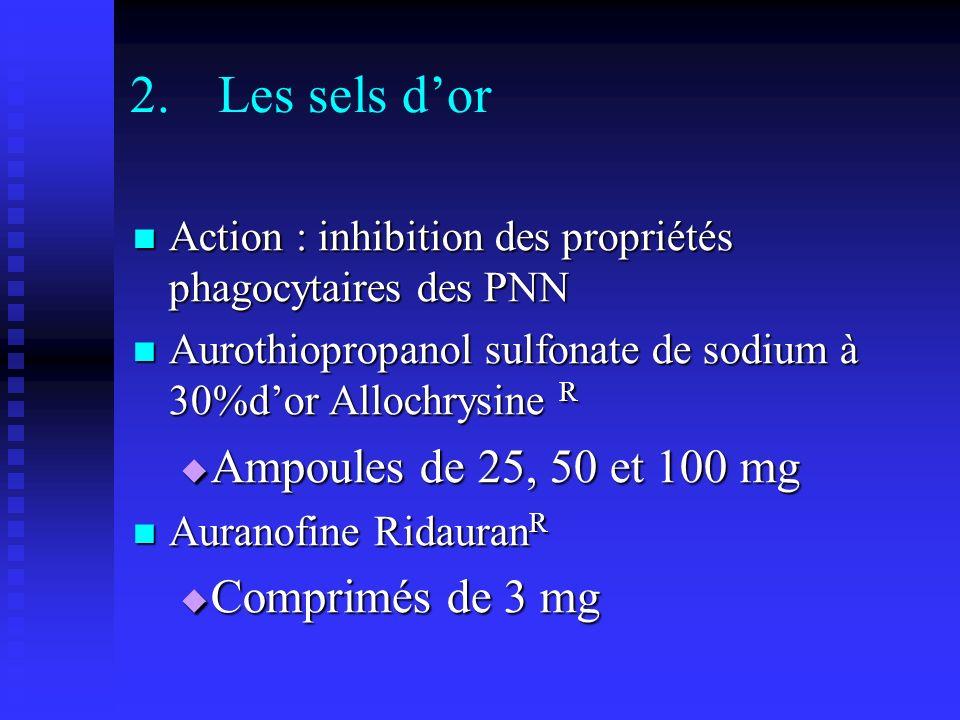 Les sels d'or Ampoules de 25, 50 et 100 mg Comprimés de 3 mg