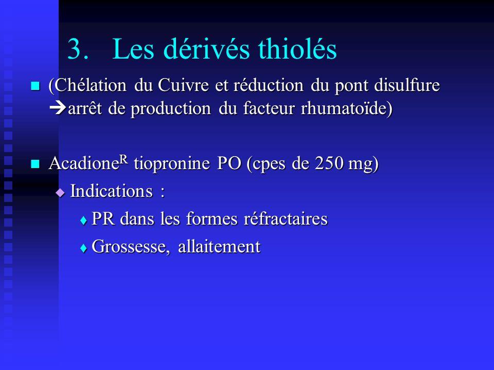 Les dérivés thiolés (Chélation du Cuivre et réduction du pont disulfure arrêt de production du facteur rhumatoïde)