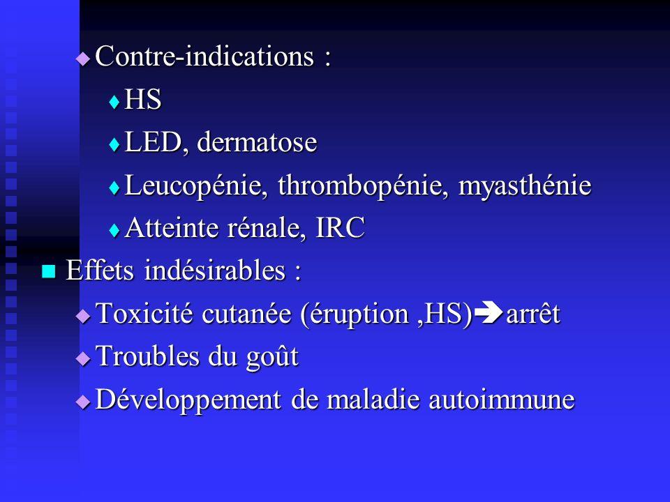 Contre-indications : HS. LED, dermatose. Leucopénie, thrombopénie, myasthénie. Atteinte rénale, IRC.