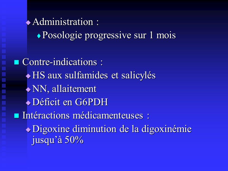 Administration : Posologie progressive sur 1 mois. Contre-indications : HS aux sulfamides et salicylés.