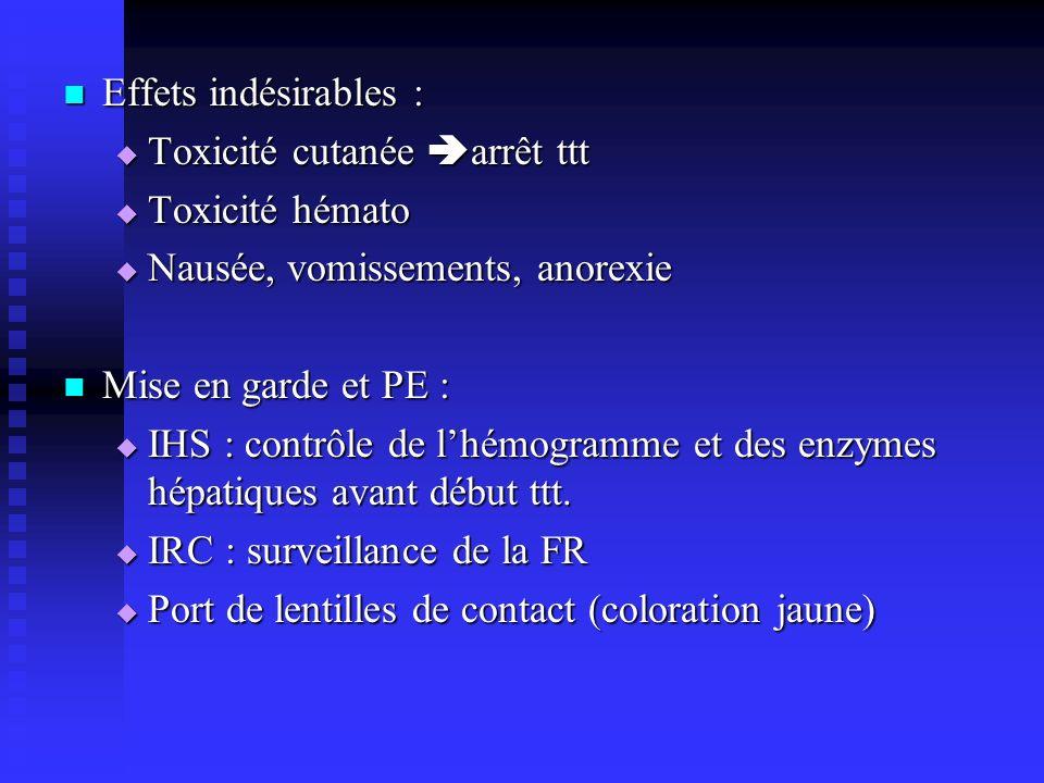 Effets indésirables : Toxicité cutanée arrêt ttt. Toxicité hémato. Nausée, vomissements, anorexie.