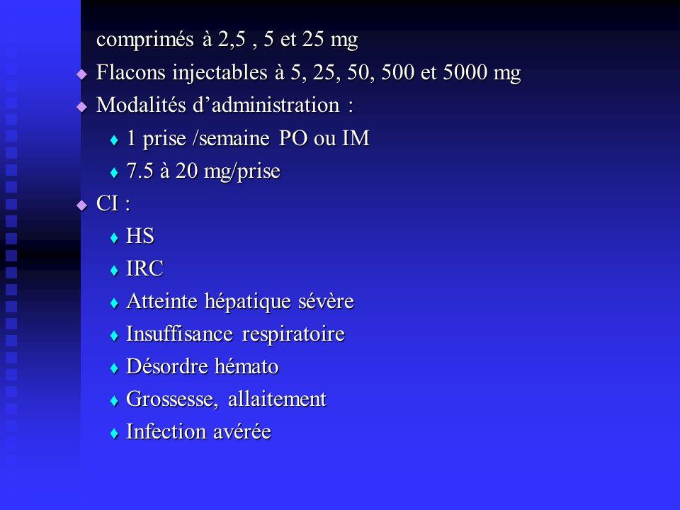 comprimés à 2,5 , 5 et 25 mg Flacons injectables à 5, 25, 50, 500 et 5000 mg. Modalités d'administration :