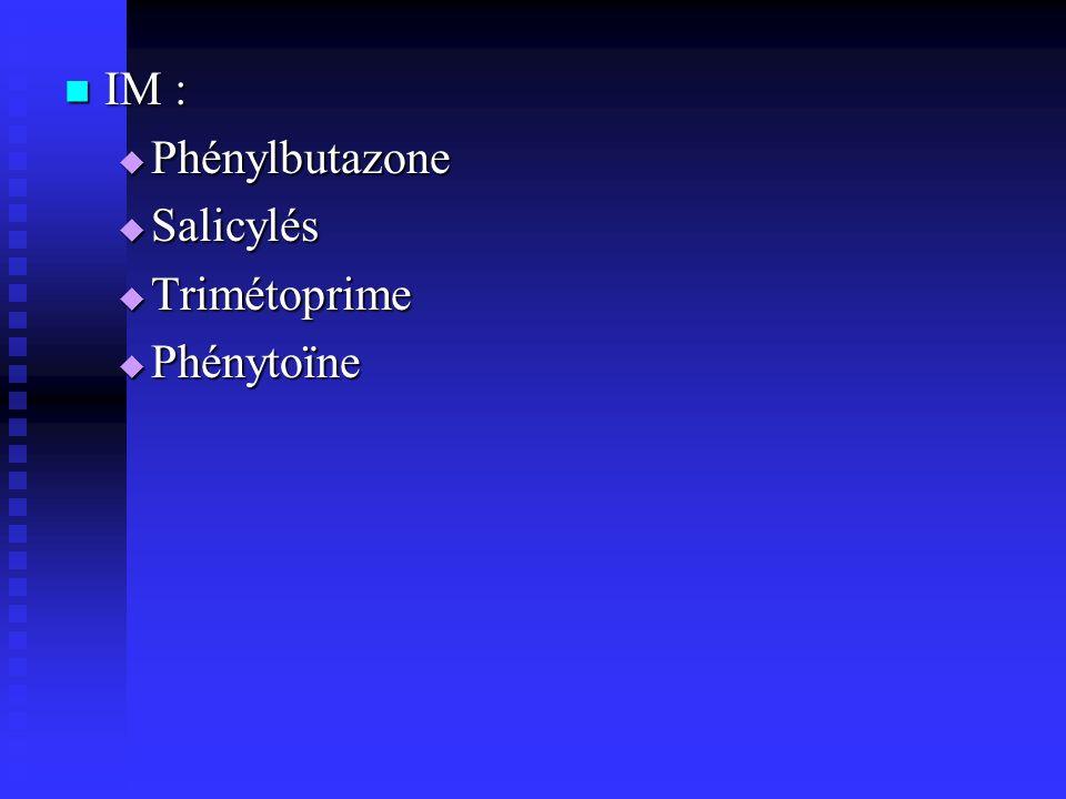 IM : Phénylbutazone Salicylés Trimétoprime Phénytoïne