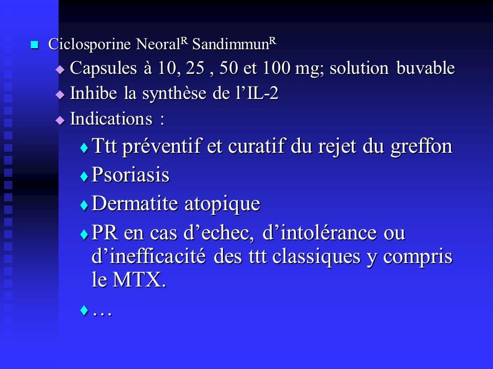 Ttt préventif et curatif du rejet du greffon Psoriasis