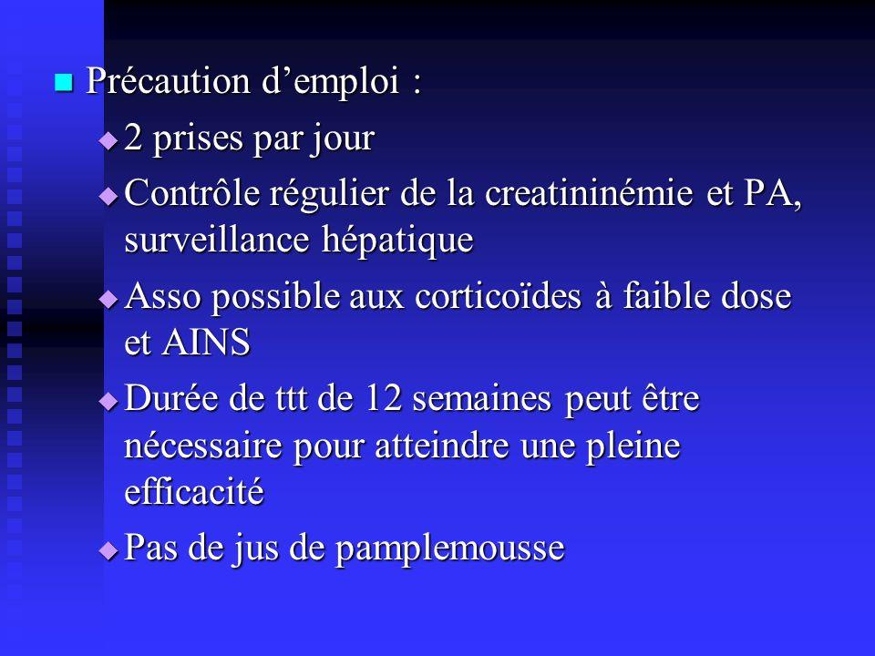 Précaution d'emploi : 2 prises par jour. Contrôle régulier de la creatininémie et PA, surveillance hépatique.