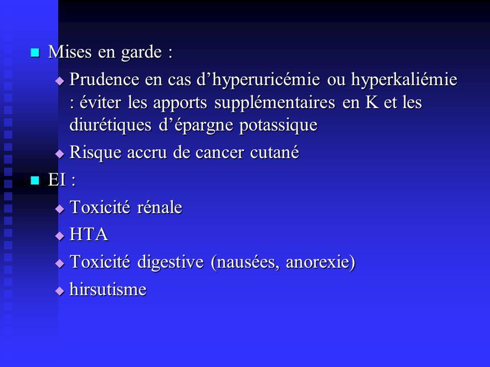 Mises en garde : Prudence en cas d'hyperuricémie ou hyperkaliémie : éviter les apports supplémentaires en K et les diurétiques d'épargne potassique.