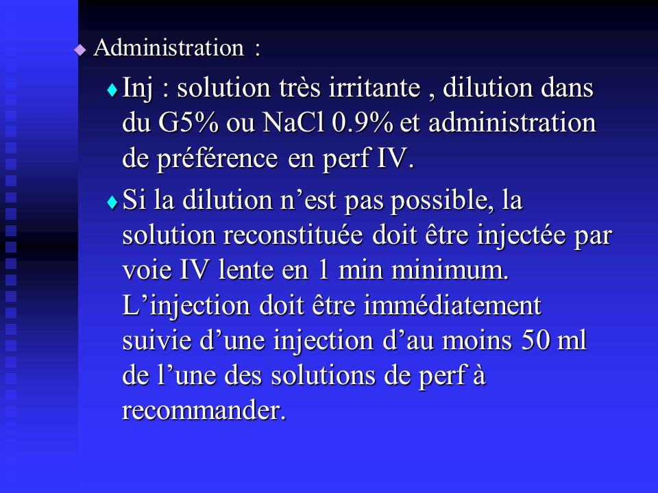 Administration : Inj : solution très irritante , dilution dans du G5% ou NaCl 0.9% et administration de préférence en perf IV.
