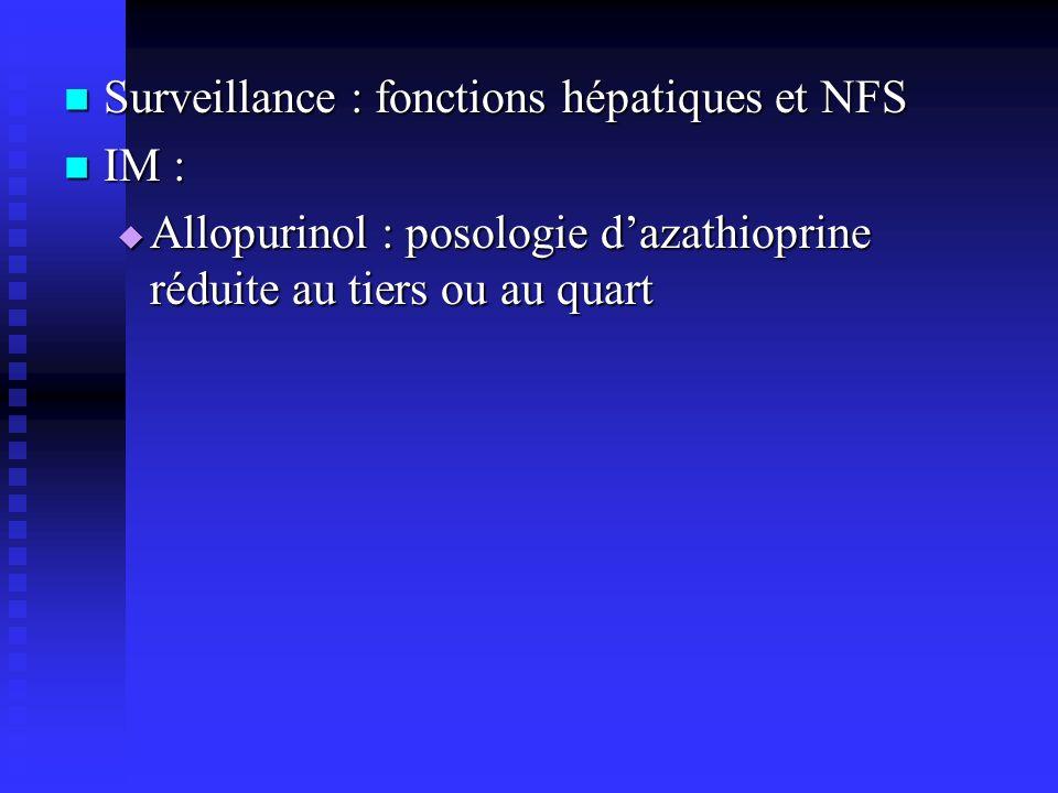 Surveillance : fonctions hépatiques et NFS