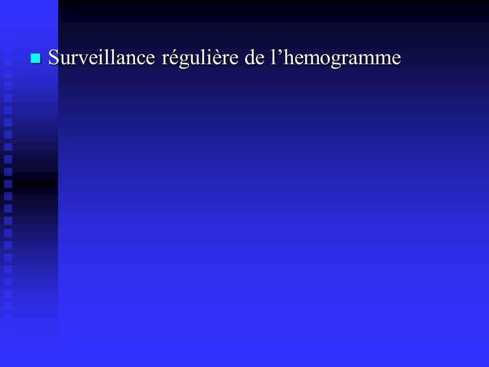 Surveillance régulière de l'hemogramme