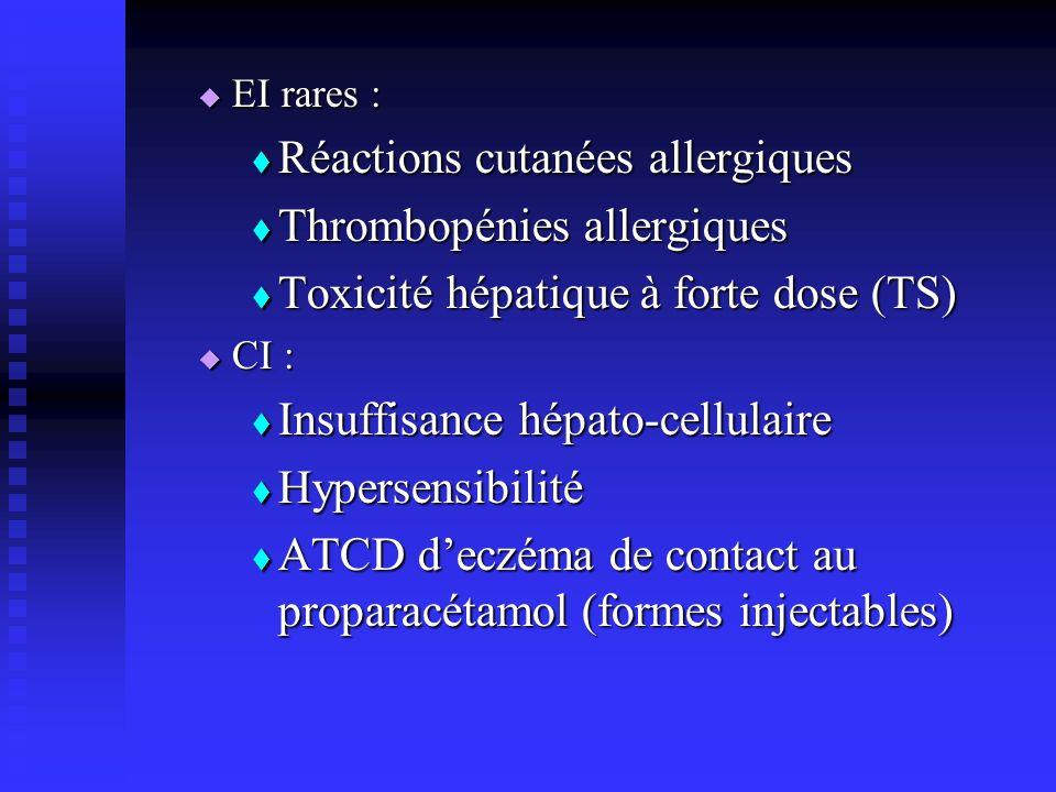 Réactions cutanées allergiques Thrombopénies allergiques