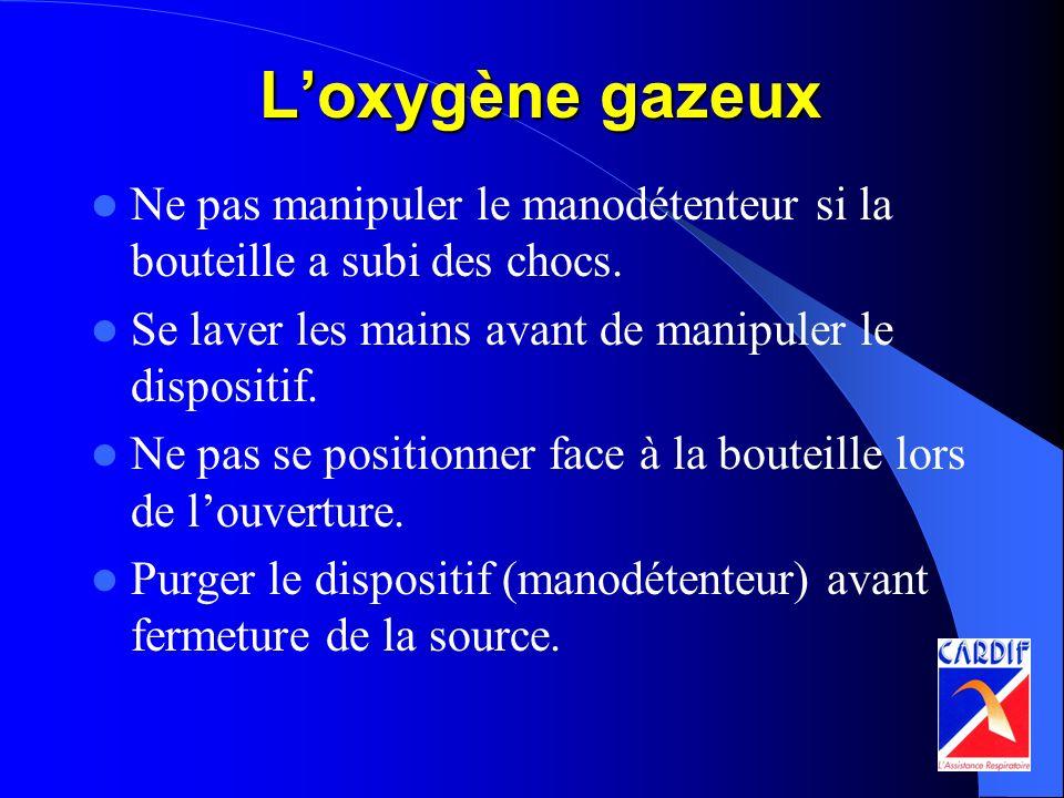 L'oxygène gazeux Ne pas manipuler le manodétenteur si la bouteille a subi des chocs. Se laver les mains avant de manipuler le dispositif.
